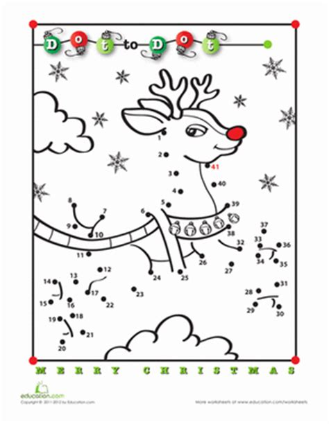free printable christmas activities for fourth graders rudolph dot to dot worksheet education