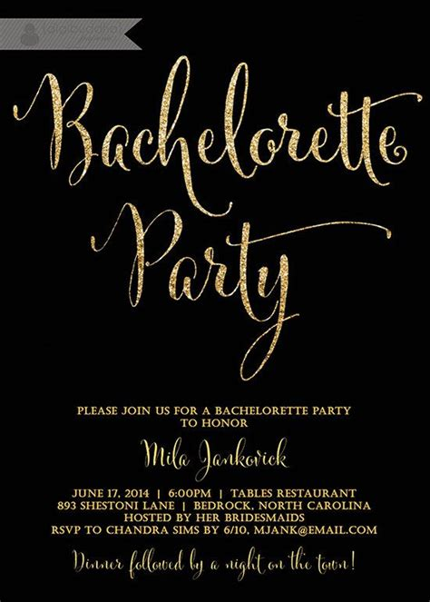 Come With Me Bachelorette Invites by Black Gold Bachelorette Invitation Glitter Modern