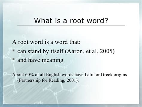 L Of Knowledge Meaning by Learning Science Vocabulary Through Knowledge Of And Roots