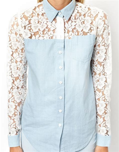 Denim Mix Lace Shirt 2 asos denim shirt with lace back and sleeve detail in blue lyst