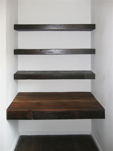 Reclaimed Wood Floating Desk And Shelves Abodeacious Reclaimed Wood Shelving