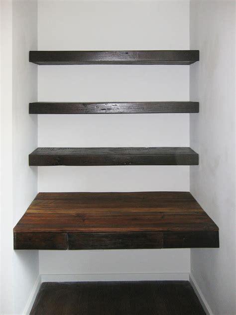 reclaimed wood shelves reclaimed wood floating desk and shelves abodeacious