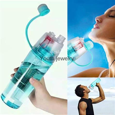 Straw Bottle Botol Minum Sedot 400ml creative sports water bottle spray water bottle simple and