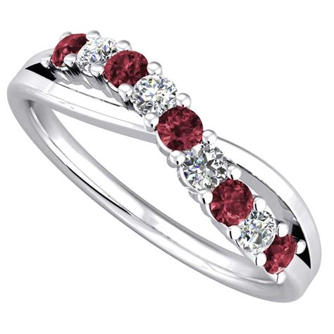 9ct white gold ruby and crossover eternity ring