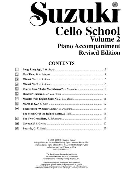 Suzuki Cello Books by Suzuki Cello School Vol 2 Cello Part Piano Accompaniment