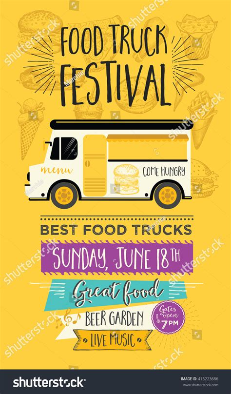 food truck menu template food truck festival menu food brochure stock vector 415223686