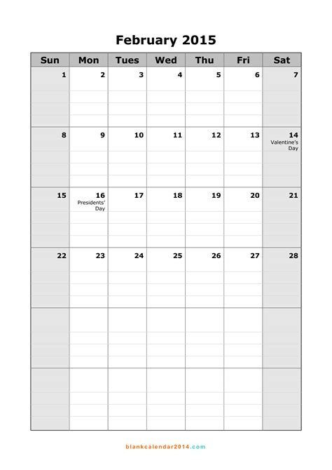 february calendar template 2015 7 best images of blank feb 2015 calendar printable blank