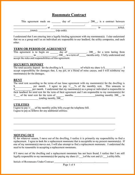 roommate agreement template 11 roommate contract sle forklift resume