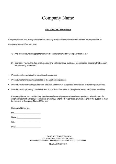 anti money laundering program template aml letter