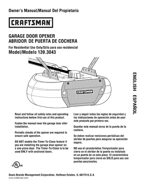 Craftsman Garage Door Opener Repair Manual Craftsman Garage Door Opener 139 3043 User Guide Manualsonline