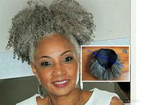 draw string afrom puff soft curl pony tail gray hair afro puff clip in black curly brazilian virgin