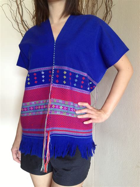 Handmade Shirt - blue with mid purple line shirt by hill tribe