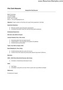 File Clerk Sle Resume by File Clerk Resume Sales Clerk Lewesmr