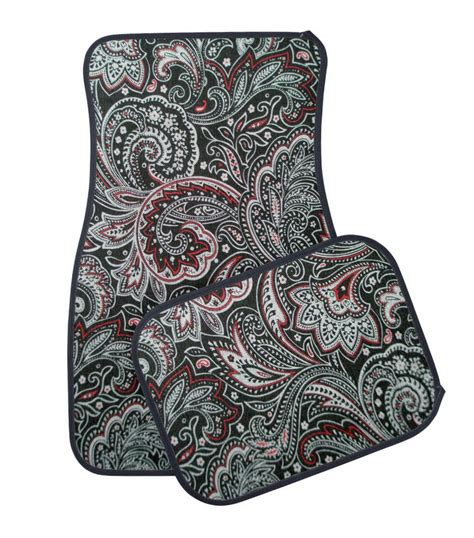 black and paisley car floor mat girly floral car