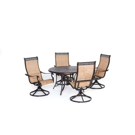 Dining Set With Swivel Chairs Hanover Traditions 5 Patio Outdoor Dining Set With 4 Cushioned Swivel Chairs And 48 In