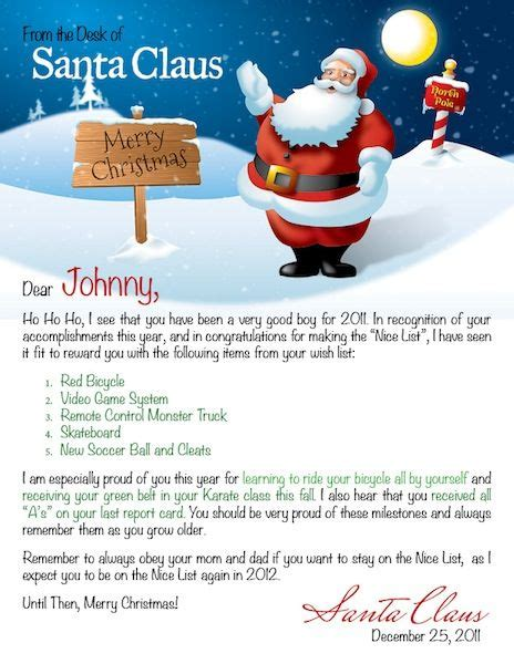 personalised word template personalized letter from santa search on a