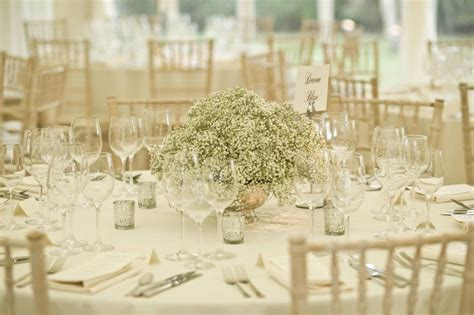 gypsophila wedding centrepiece 3 flowers centrepeices