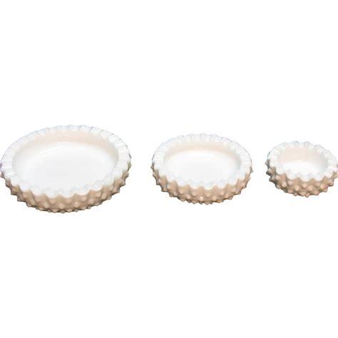 Set Vintage 3 vintage fenton 3 ashtray set hobnail milk glass pattern