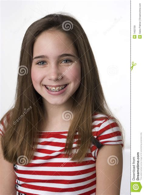 young teen girl face with braces do you like my braces royalty free stock images image