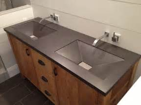 charcoal gray bathroom concrete vanity top dual sinks