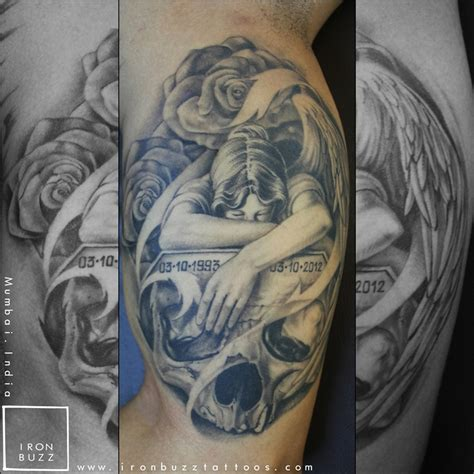 angel rose tattoo memorial skull roses ironbuzz tattoos