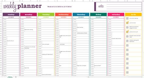 excel weekly schedule template interactive calendar
