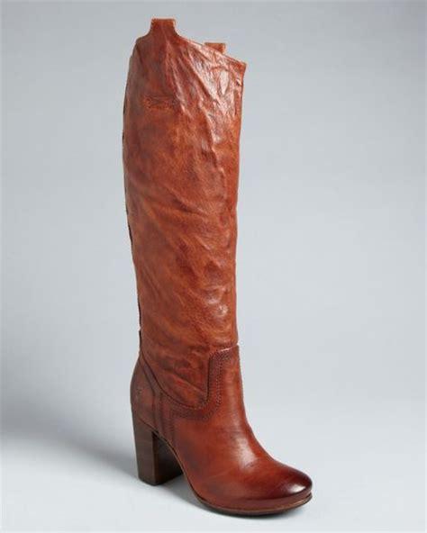 frye high heels frye tab boots carson high heel in brown cognac lyst