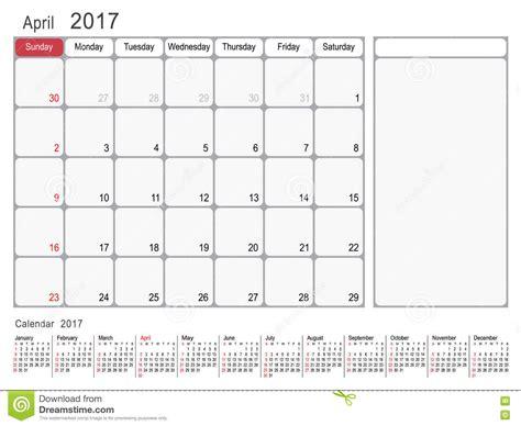 Calendrier Semaine Numérotée Kalender Planer Im April 2017 Vektor Abbildung Bild
