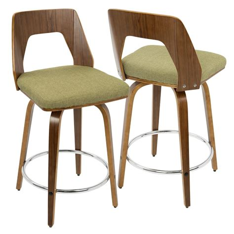 Green Counter Stools by Lumisource Trilogy Walnut And Green Mid Century Modern