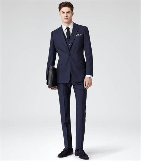 Three Suit Reiss Garda Peak Lapel Three Suit In Blue For