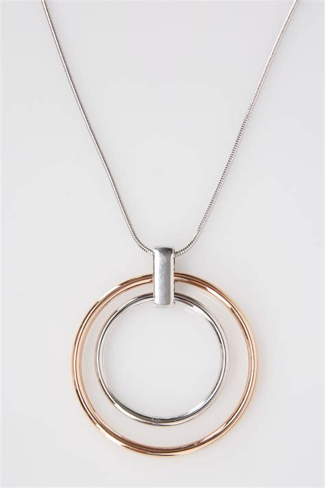 Circles Responsive Menu silver bronze necklace with circle pendant