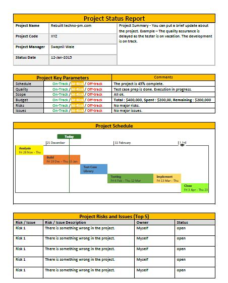 one page project status report template a weekly status