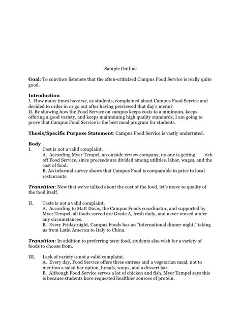 Speech Sle preparation outline speech sle speech outline template