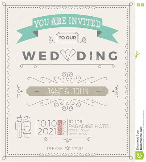 Vintage Template Design Layout For Wedding Invitation Royalty Free Stock Image Cartoondealer Simple Wedding Card Template