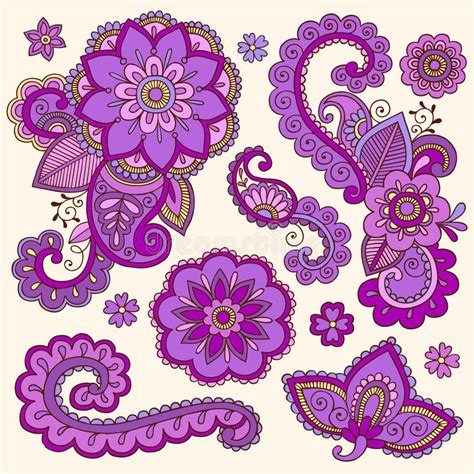 colorful henna henna colorful mehndi doodles vector royalty free