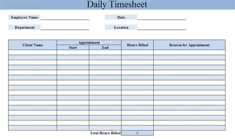 Daily Timesheet Template Daily Timesheet Template Xls