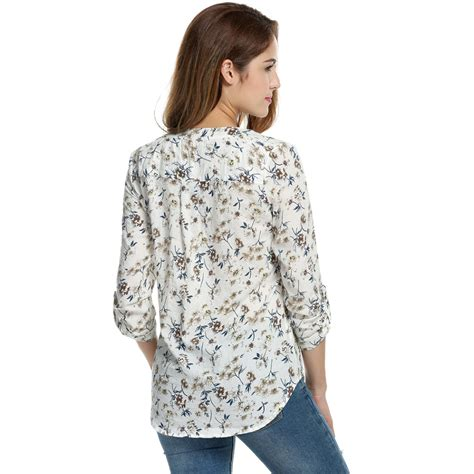 Print Casual Top 24264 meaneor floral print blouse tops 1950s 60s vintage autumn clothing casual roll up sleeve