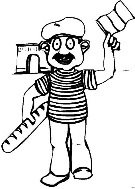 franzose mit baguette ausmalbild malvorlage comics