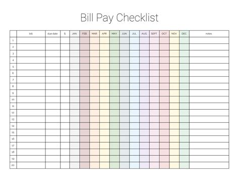 Galerry free printable bill budget planner