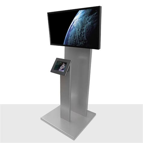 Tablet Kioson standalone tablet kiosk with external screen tower