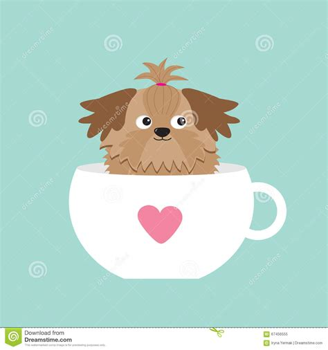 shih tzu character shih tzu sitting in pink cup with character flat design blue