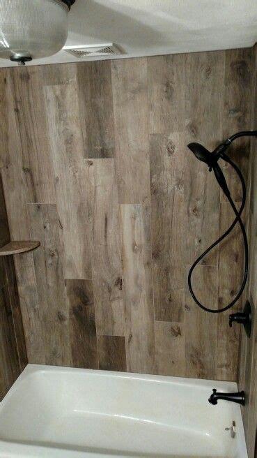 wood tile tub surround wood tile shower shower tile