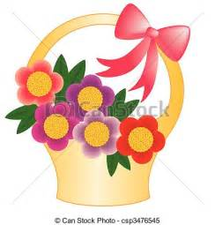 Multi Colored Flowers - clipart vector of basket flower basket with flowers