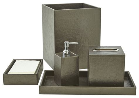 Papier Bath Accessory Set Platinum Contemporary Contemporary Bathroom Accessory Sets