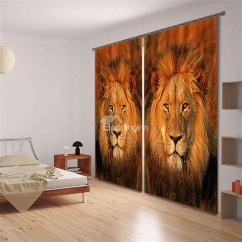 lion king curtains vivid lion king face 3d printing 2 panels curtain