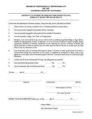 workers compensation affidavit of exempt status