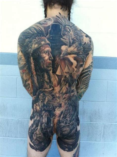 realistic back indian horse tattoo by josh duffy tattoo