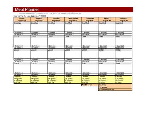 meal planning template excel weekly meal plan template new calendar template site