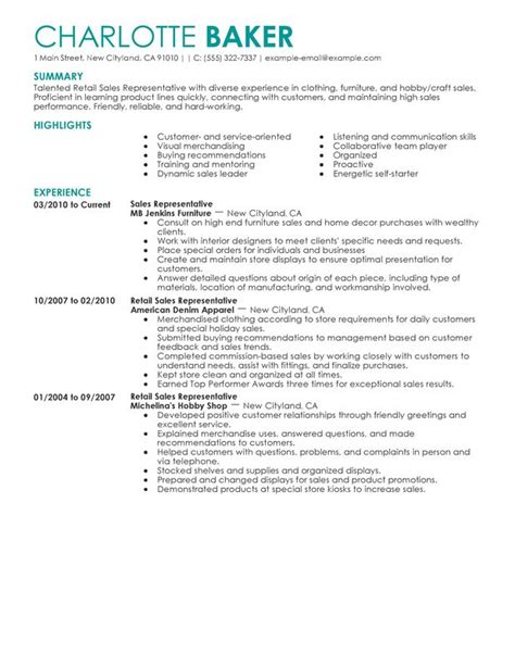Resume Outline For Retail by Rep Retail Sales Resume Exles Free To Try Today Myperfectresume