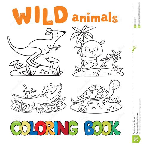 coloring book with animals stock vector image 51111637